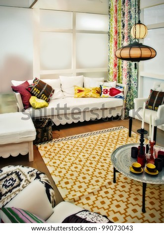 interior with stylish color decor - stock photo