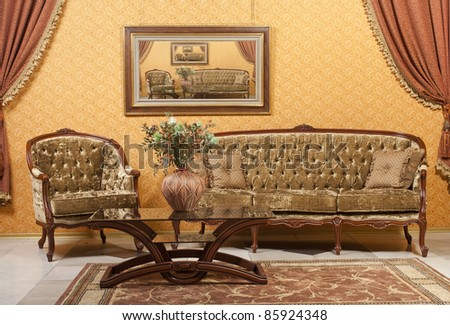 interior with vintage furniture. see more on my page - stock photo