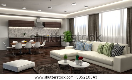 interior with white sofa. 3d illustration - stock photo