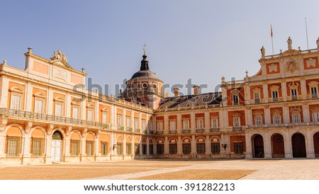 Interior yard of the Royal Palace of Aranjuez, a residence of the King of Spain, Aranjuez, Community of Madrid, Spain. UNESCO World Heritage - stock photo