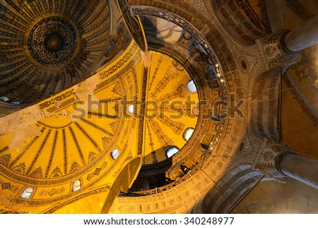 Interiorof Haghia Sophia, Istanbul. One of the oldest a landmarks of Turkey. - stock photo