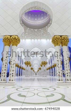Interiors of Sheikh Zayed Mosque, Abu Dhabi, United Arab Emirates - stock photo