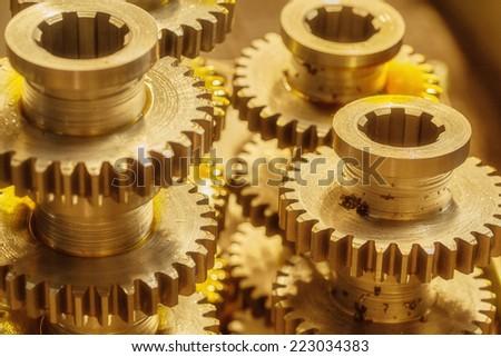 Interlocking industrial metal gears  - stock photo