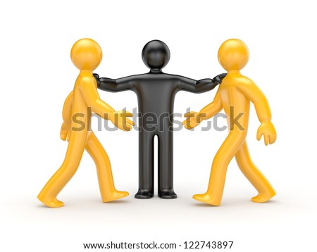 Intermediary in the conflict decision - stock photo