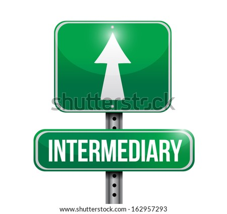 intermediary road sign illustration design over a white background - stock photo