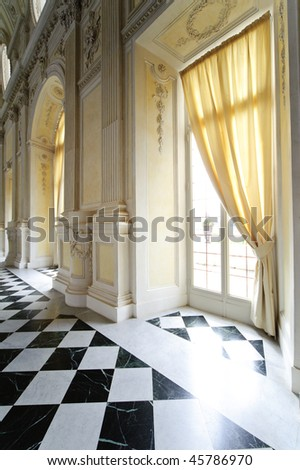 internal detail royal palace Reggia di Venaria - Turin - stock photo