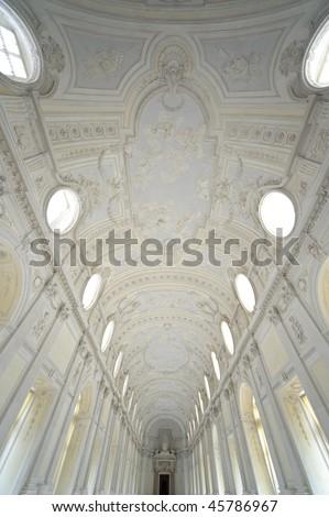internal detailroyal palace Reggia di Venaria - Turin - stock photo