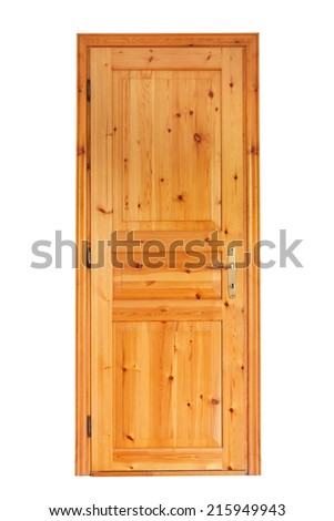 Internal wooden door isolated on white background - stock photo