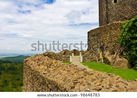 Internal yard of the Holloko castle in Hungary. UNESCO World Heritage Site. - stock photo