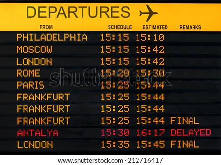 international airport departures board isolated - stock photo