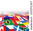 International business background with flags from the world in three dimensional perspective as a symbol of global financial trade and economy on a white background. - stock photo