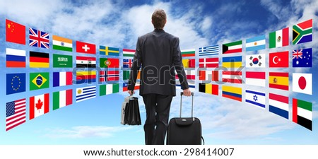 International business man travel with trolley, global business concept - stock photo