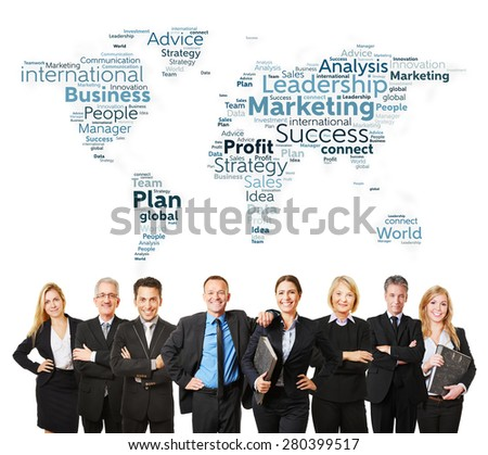 International business team with lawyers and marketing strategy - stock photo