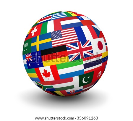 International business, travel services and global management concept with a globe and international flags of the world 3d illustration on white background. - stock photo