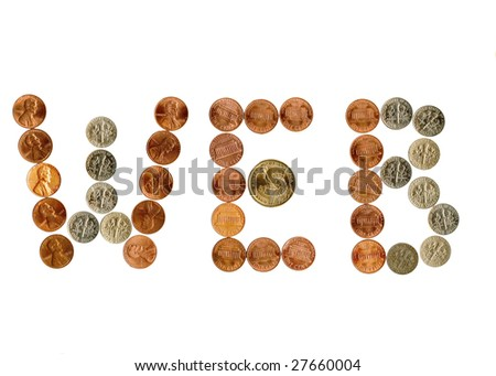 International coins inside money related exclamation. - stock photo