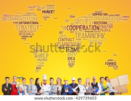 International cooperation and success team with different careers and professions - stock photo