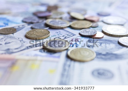 International currencies. Money from the United States, Europe, Britain and Hong Kong - stock photo