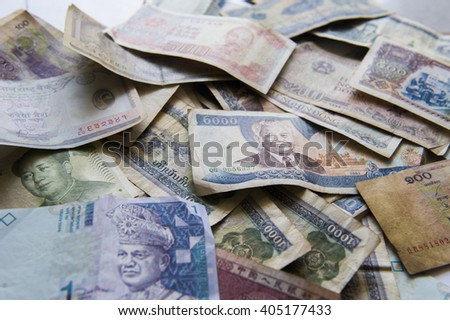 International Currency, Asian Bank Note - stock photo