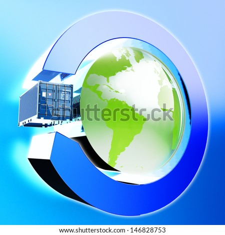 International delivery of cargo icon. Elements of this image furnished by NASA. - stock photo