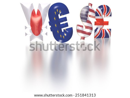 International economy currency units: pound, euro, dollar, yen - stock photo
