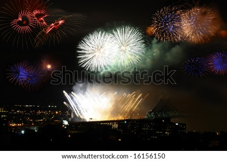 International fireworks festival in Montreal, Canada, in summer 2008 - stock photo