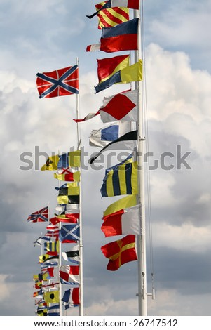 International Flags at a windy day - stock photo