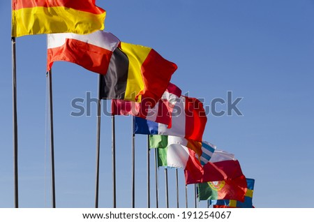 International flags waving together on the sky - stock photo