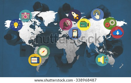 International Global Connect Globalization Cartography Concept - stock photo