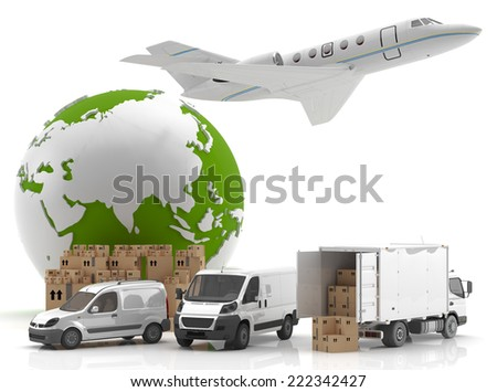 International goods transport - Trade in Asia - Made in China 2 - stock photo