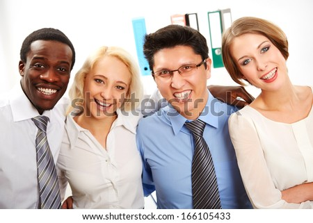 International group of business people working together - stock photo