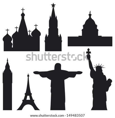 International historical landmark monuments (Eiffel Tower, Big Ben, Statue of Liberty, U.S. Capitol, St. Basil's Cathedral in Red Square, Christ the Redeemer statue in Brazil, Kremlin tower) - stock photo