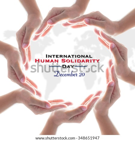 International Human Solidarity Day, December 20, symbolic icons of people hands group in circle shape/ cycle with blur world map on white background showing unity, friendship, teamwork, collaboration  - stock photo