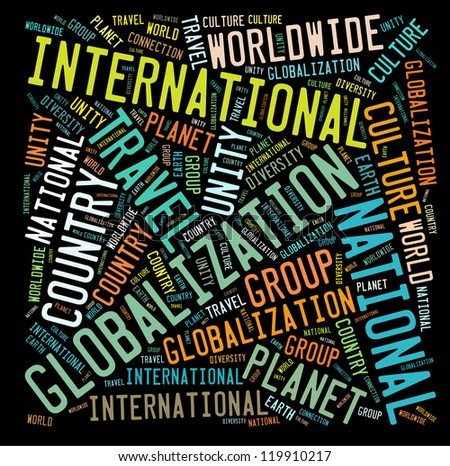 International info-text graphics and arrangement concept on black background (word cloud) - stock photo