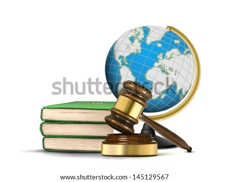 International Justice system with gavel books and globe - stock photo