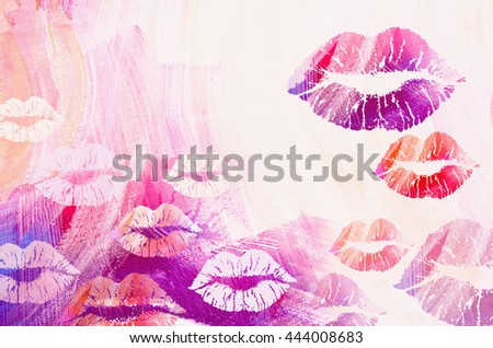 International kissing day background. Illustration with glamorous sensual red lips. Sexy kissing woman lips on grunge background. - stock photo