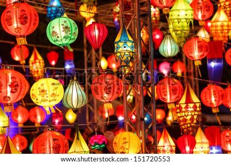 International lanterns, Chiang Mai, Thailand - stock photo