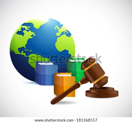 international law. legal concept illustration design over a white background - stock photo