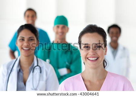 International medical team isolated on a white background - stock photo