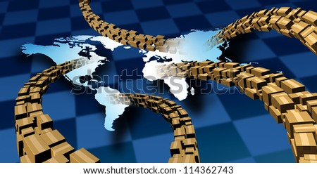 International package delivery and world parcel shipping with a group of cardboard boxes flying in the air to a vanishing point to a map of the planet earth as a symbol of fast service. - stock photo