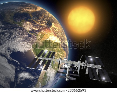 International Space Station, earth orbit, space. Element of this image are furnished by NASA - stock photo