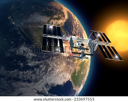 International Space Station in orbit around the earth. Element of this image are furnished by NASA - stock photo