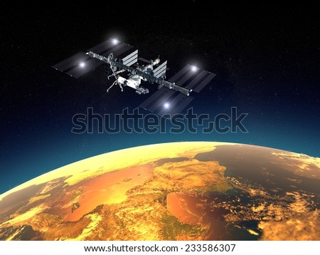 International Space Station, space. Earth orbit. Element of this image are furnished by NASA - stock photo