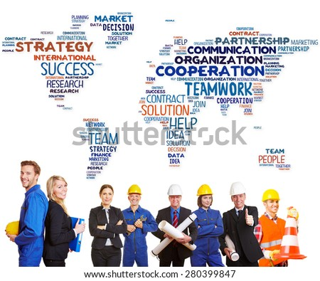 International team cooperation with white and blue collar workers together - stock photo
