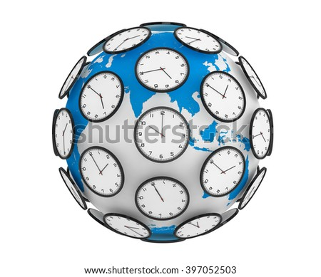 International Time Zones Concept. Modern Clocks around the Earth Globe World on a white background - stock photo