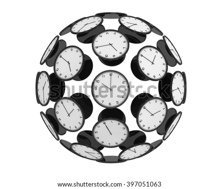 International Time Zones Concept. Modern Clocks as Sphere on a white background - stock photo