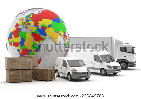 International transport of goods by road - 3D Render - stock photo