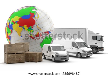 International transport of goods by road in Asia - 3D Render - stock photo