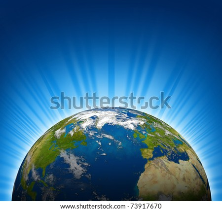 International view of North america and Europe on an Earth planet globe model with a bright radial blue background. - stock photo