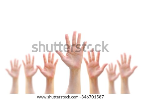 International Volunteer Day for Economic and Social Development on December 5: Many people blur hands raising up upward on white background showing vote, volunteering, participation concept/ campaign  - stock photo