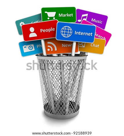 Internet and social media concept: set of color signs with icons of internet and social media services in office bucket isolated on white background - stock photo